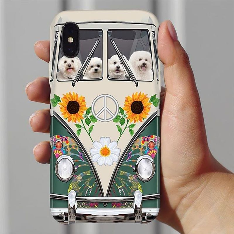 Bichon Frise Hippie Bus Phone Case Full Sizes Iphone Samsung