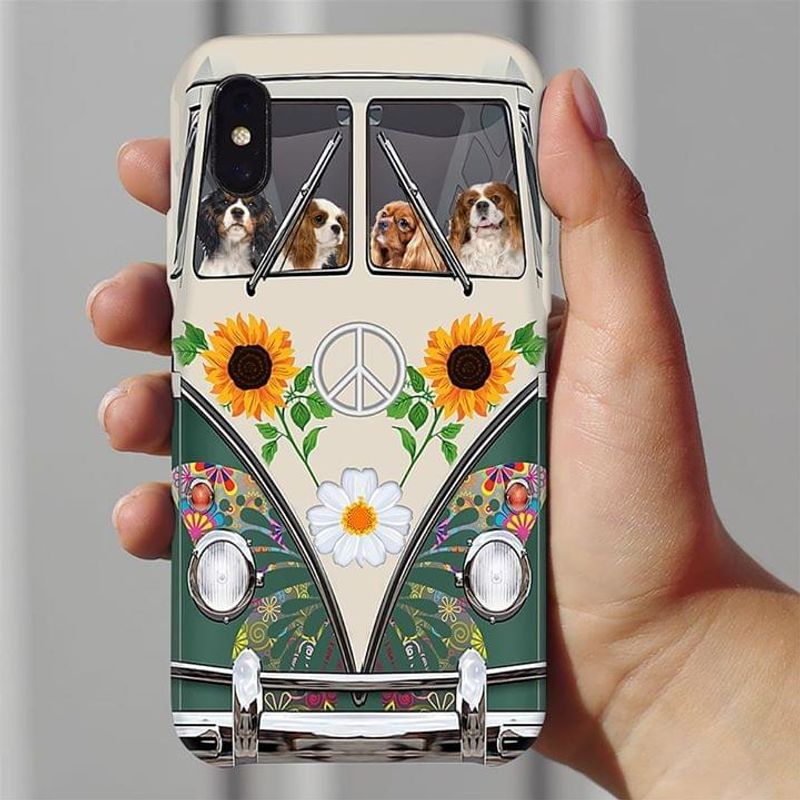 Cavalier King Charles Spaniel Hippie Bus Phone Case Full Sizes Iphone Samsung