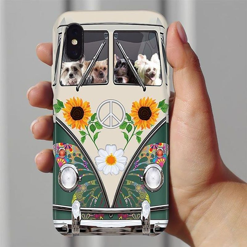 Chinese Crested Dog Hippie Bus Phone Case Full Sizes Iphone Samsung
