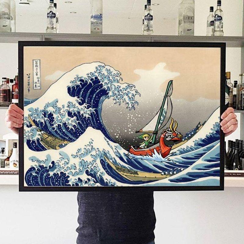 The Legend Of Zelda The Great Wave Off Kanagawa Poster No Frame/ Framed Canvas