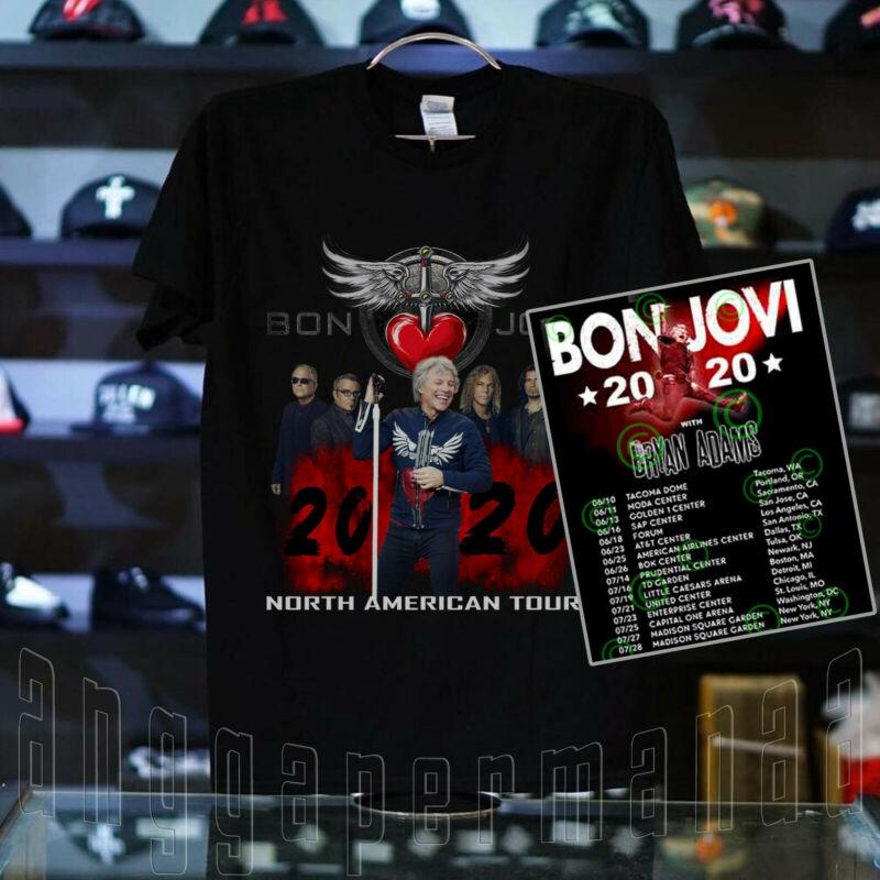 #BJV Bon Jovi and Bryan Adams Tour Shirt Concert Dates 2020 T-shirt SIZE M-3XL