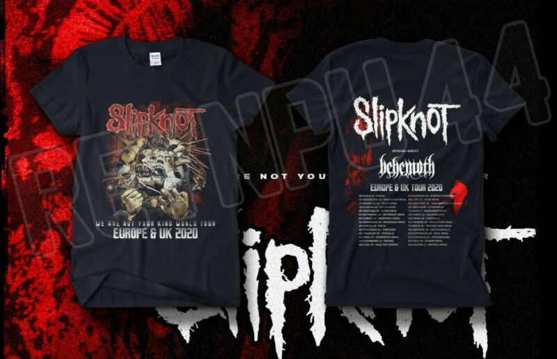 @AS Slipknot Europe x U.K. Tour Shirt Concert DATES 2020 GILDAN T-SHIRT USA SIZE