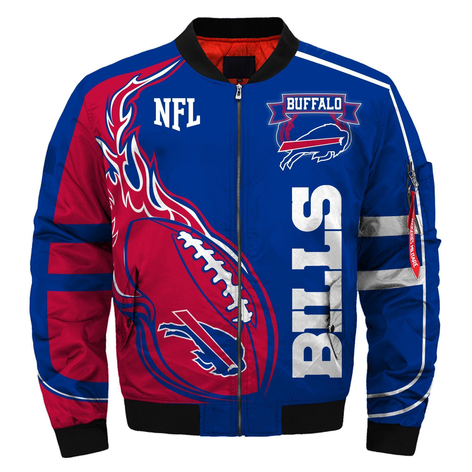 001 Nfl Buffalo Bills Custom North Face Winter Jacket Bomer High Quality Plus Size Jacket