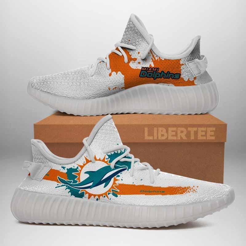 002 Miami Dolphins Logo Custom Yeezy Running Shoes For Men Woomen Unisex Plus Size White