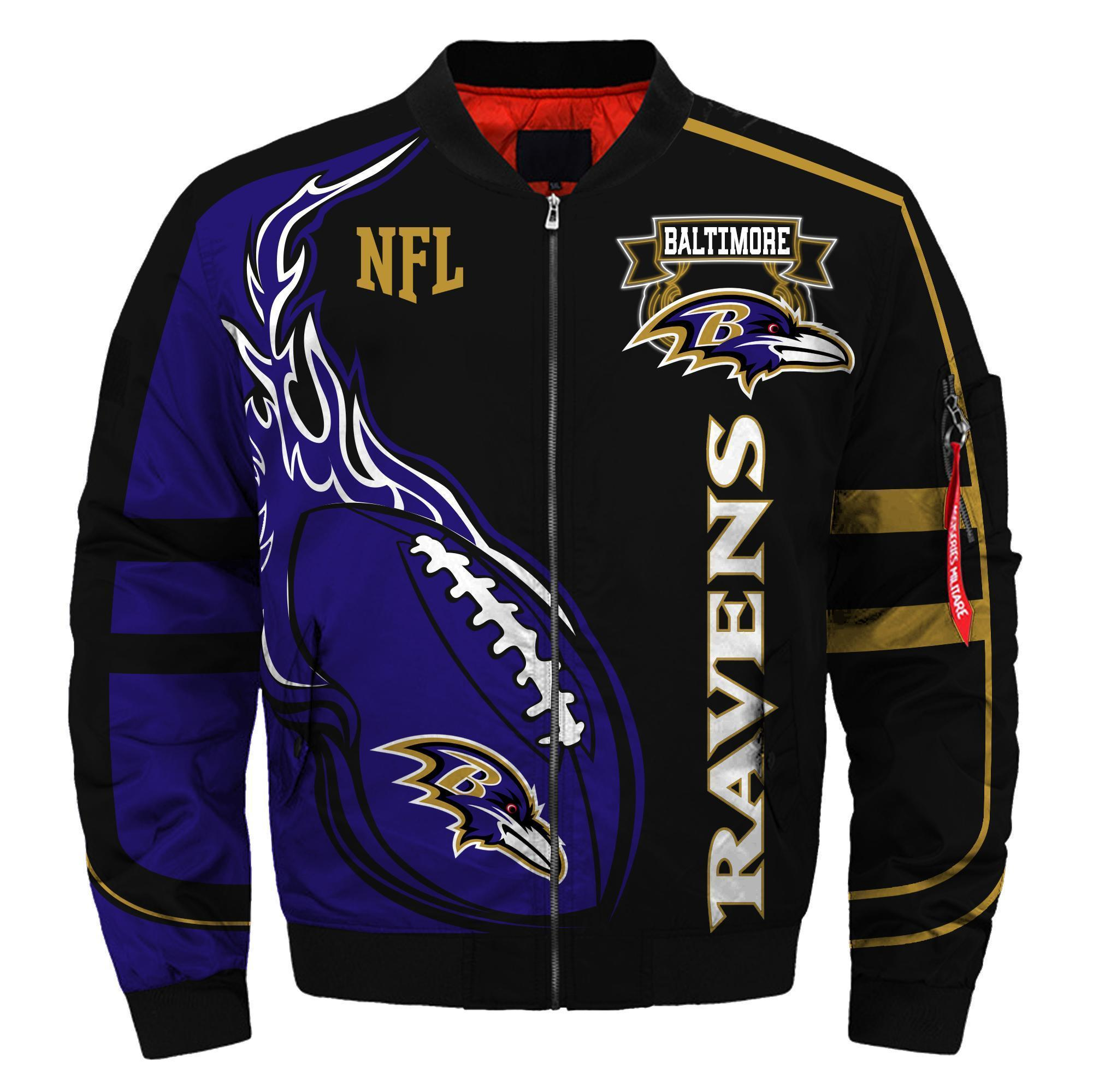 005 Nfl Baltimore Ravens Custom North Face Winter Jacket Bomer High Quality Plus Size Jacket