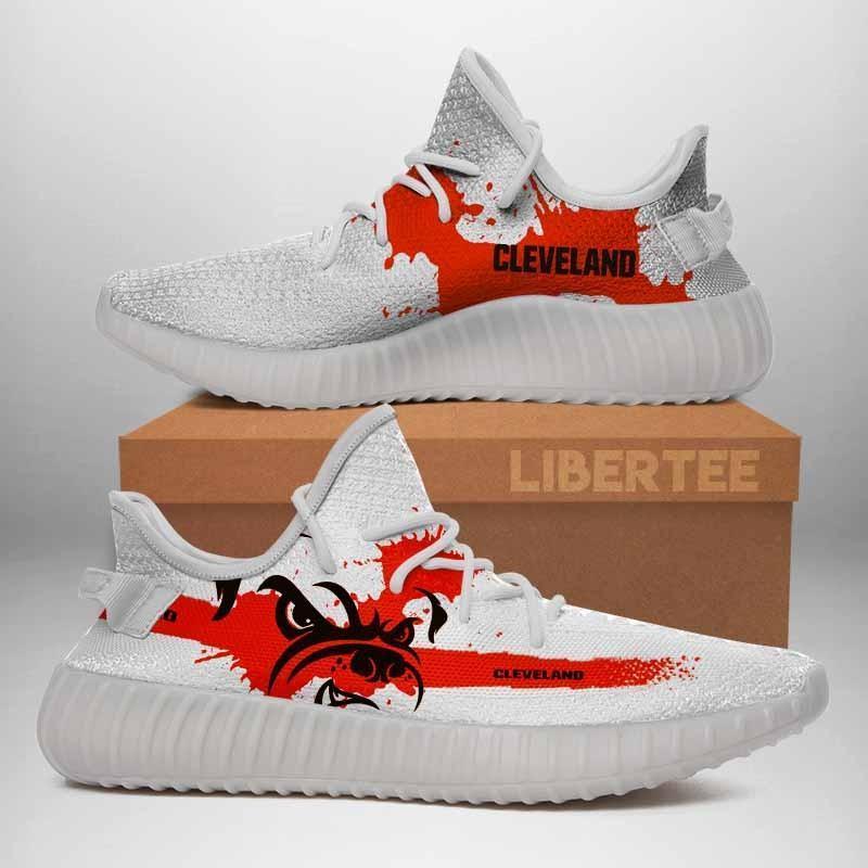 007 Cleveland Browns Logo Custom Yeezy Running Shoes For Men Woomen Unisex Plus Size White