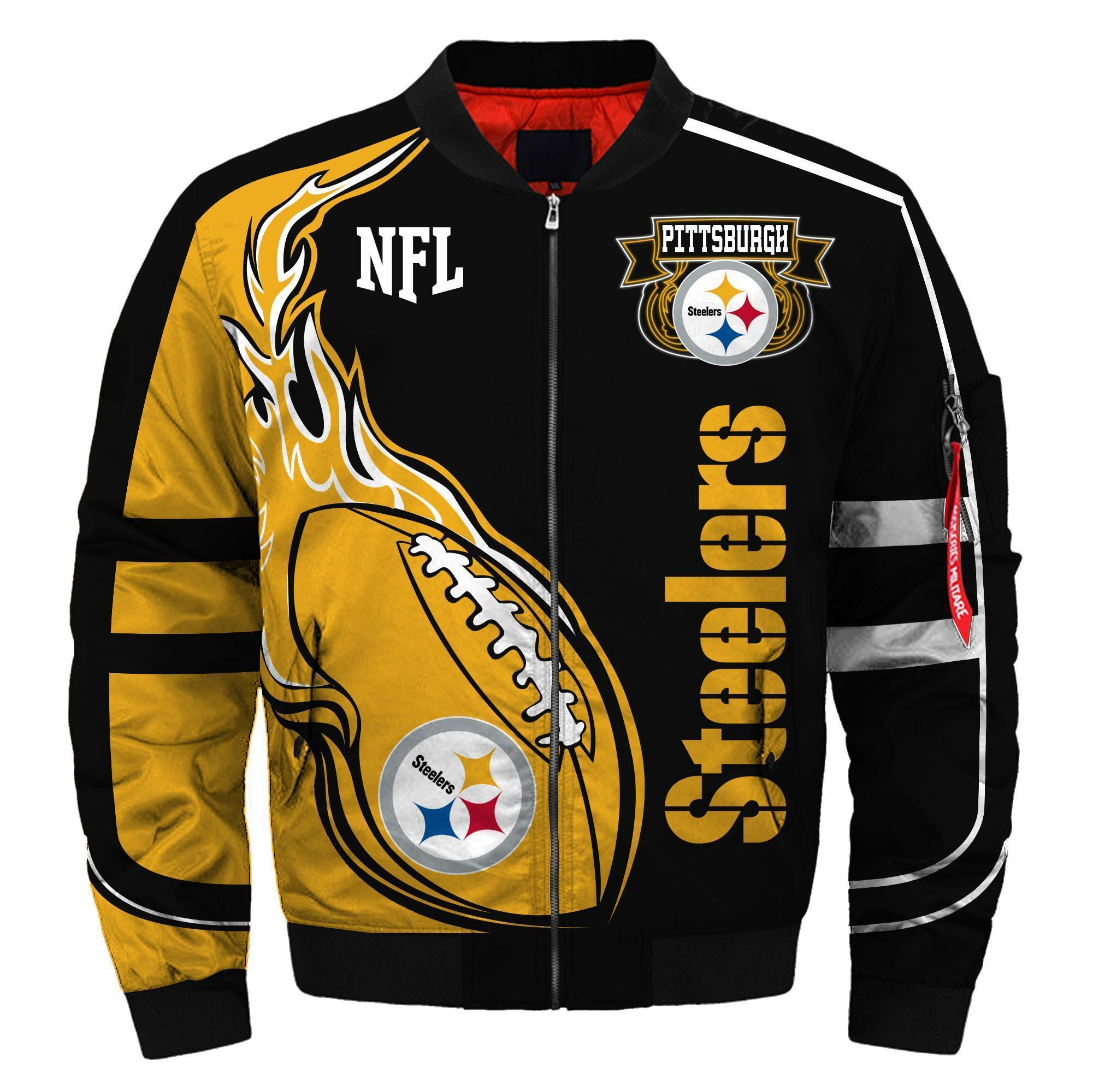 008 Nfl Pittsburgh Steelers Custom North Face Winter Jacket Bomer High Quality Plus Size Jacket