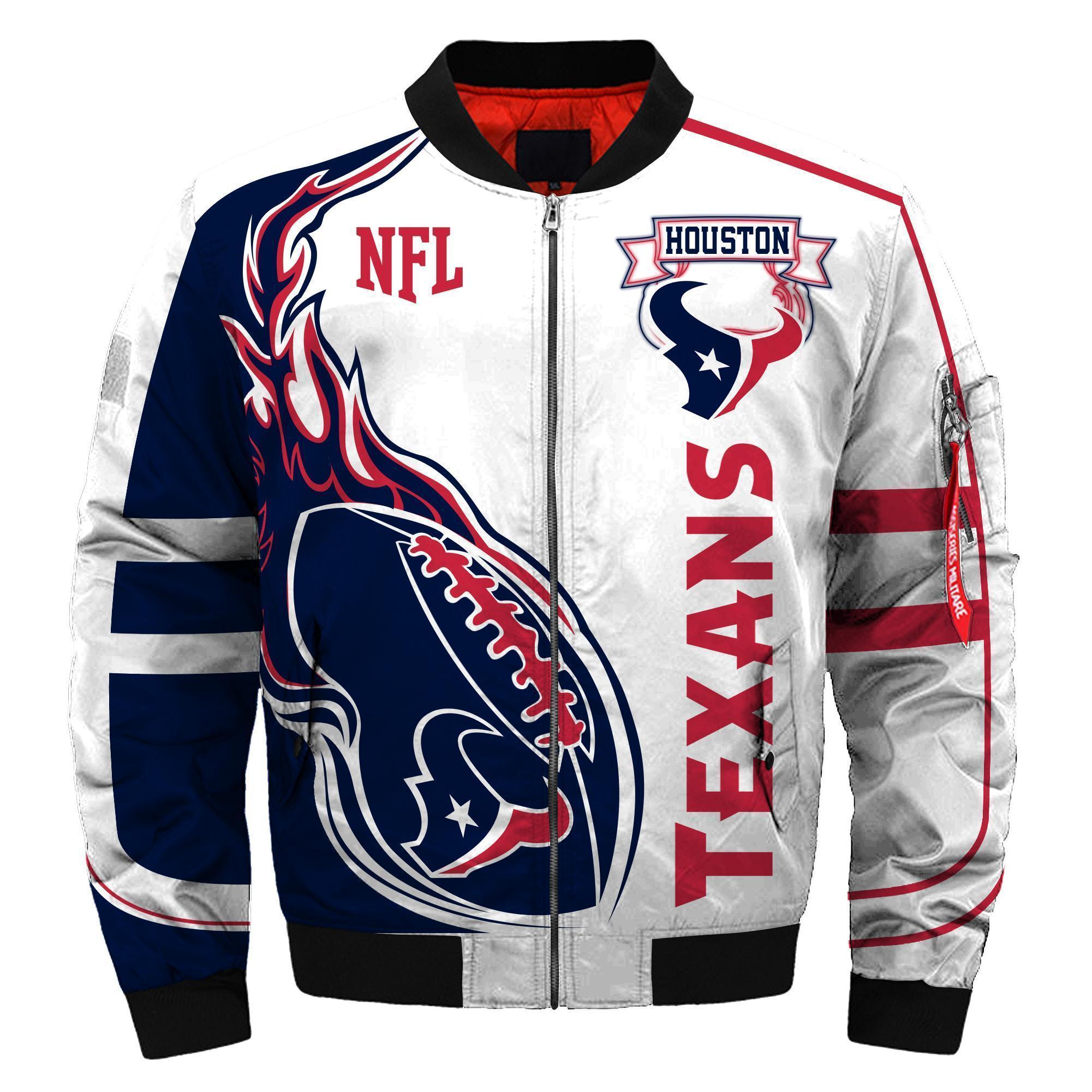 009 Nfl Houston Texans Custom North Face Winter Jacket Bomer High Quality Plus Size Jacket