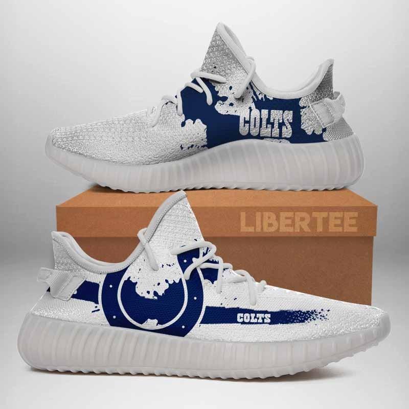 010 Indianapolis Colts Logo Custom Yeezy Running Shoes For Men Woomen Unisex Plus Size White