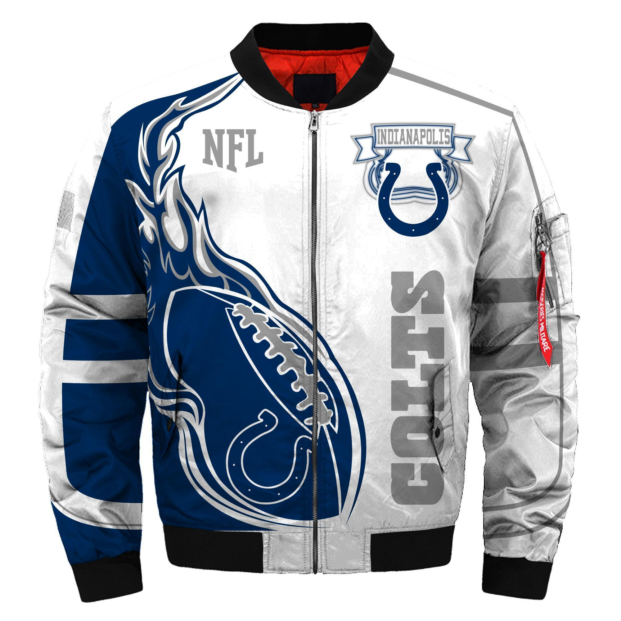 010 Nfl Indianapolis Colts Custom North Face Winter Jacket Bomer High Quality Plus Size Jacket