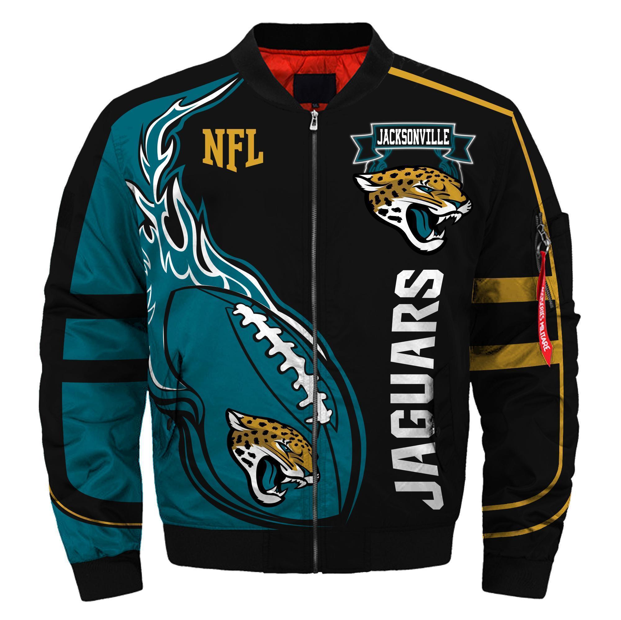 011 Nfl Jacksonville Jaguars Custom North Face Winter Jacket Bomer High Quality Plus Size Jacket