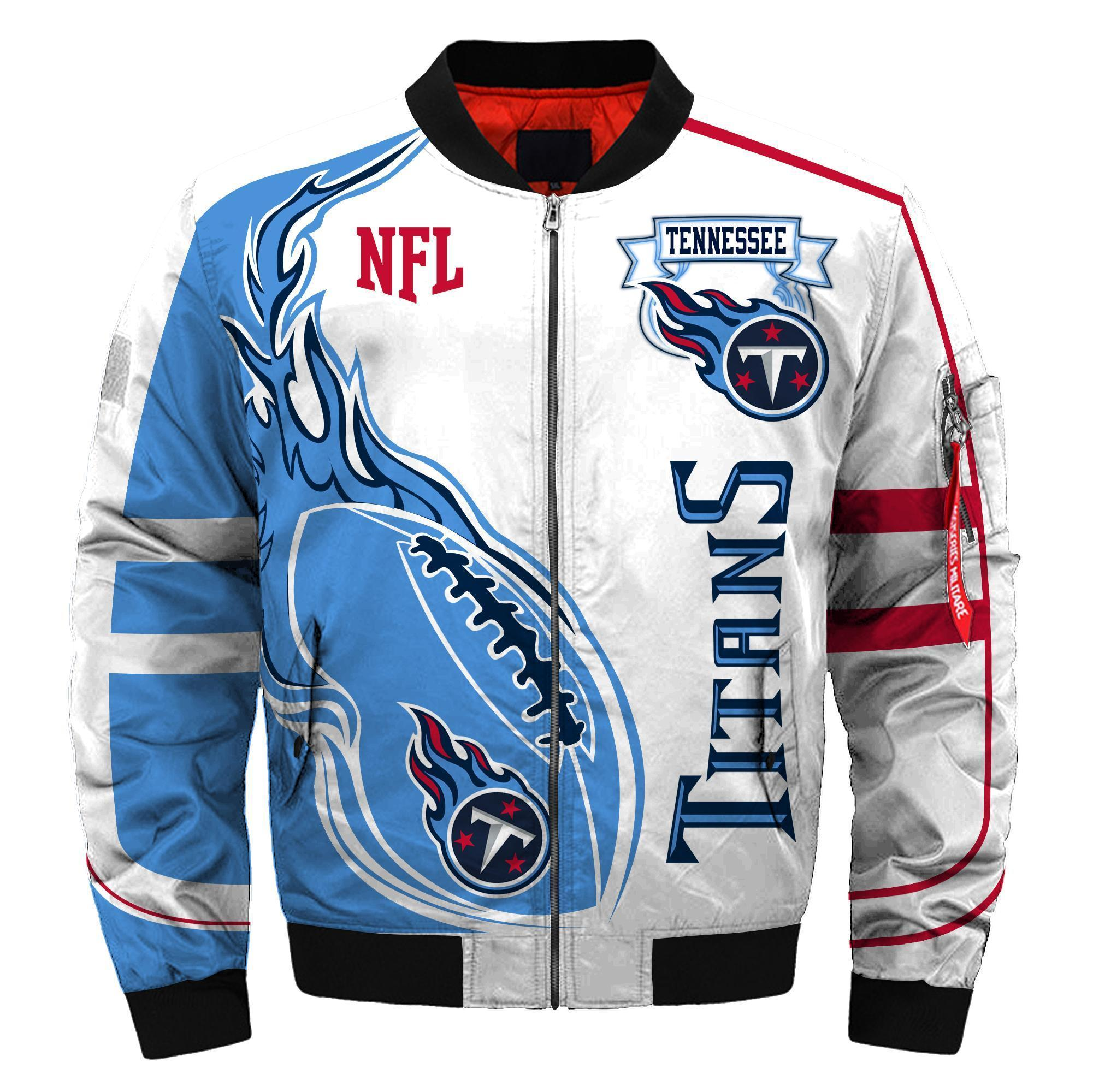 012 Nfl Tennessee Titans Custom North Face Winter Jacket Bomer High Quality Plus Size Jacket