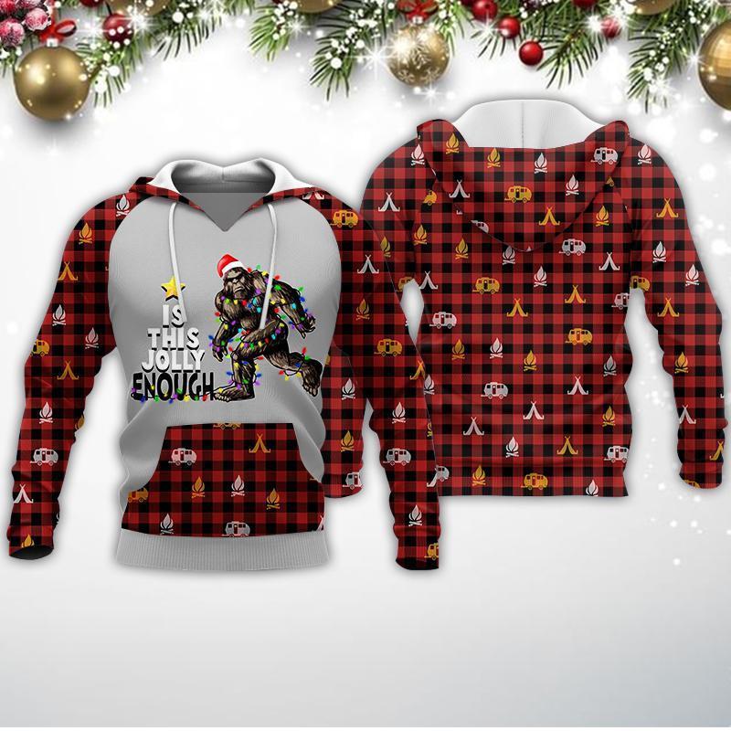 Bigfoot Jolly Enough Christmas Red Plaid Camping 3d All Over Printed Shirt 0hg