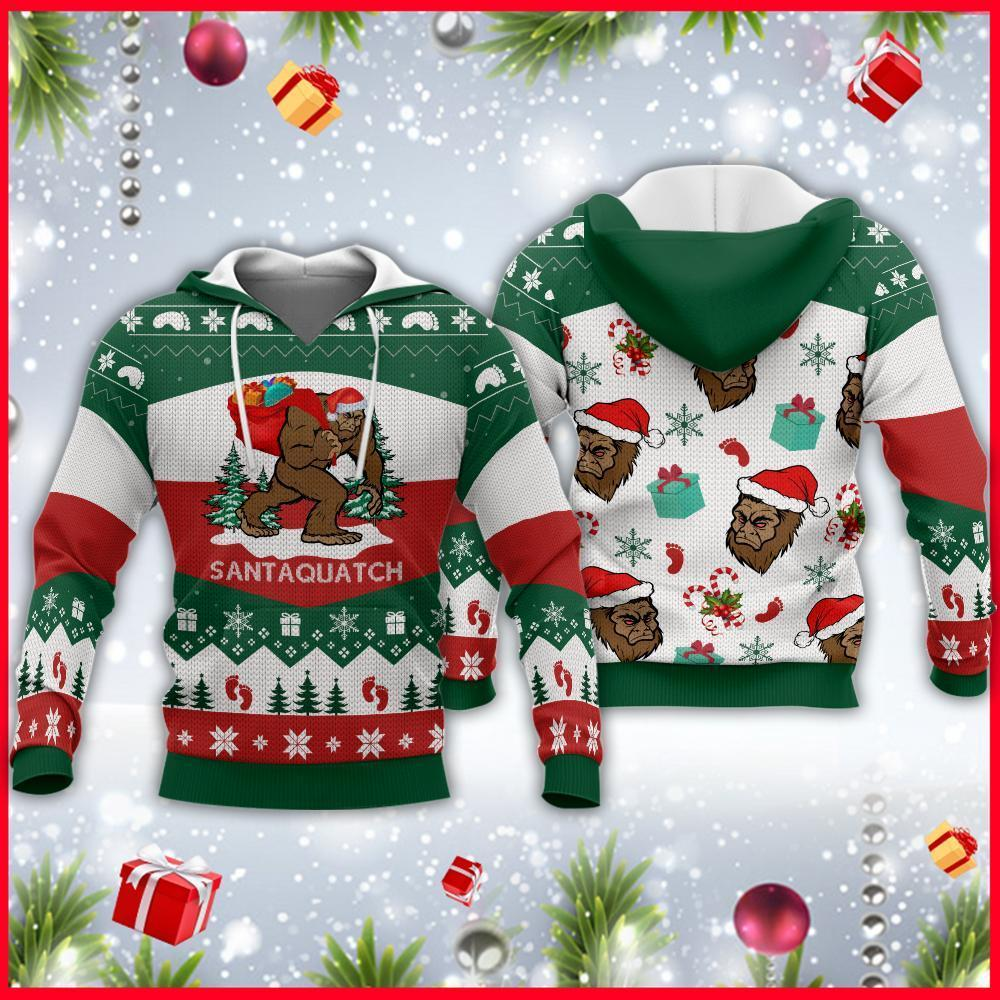 Bigfoot Santa Christmas Camping Knitting Pattern 3d Fullprint Shirt Eh0