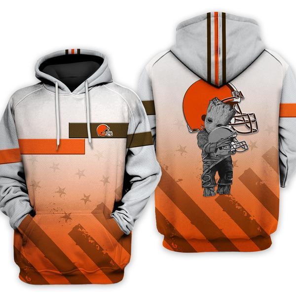 Cleveland Browns Groot Hugging 3d All Over Printed Shirt F3s