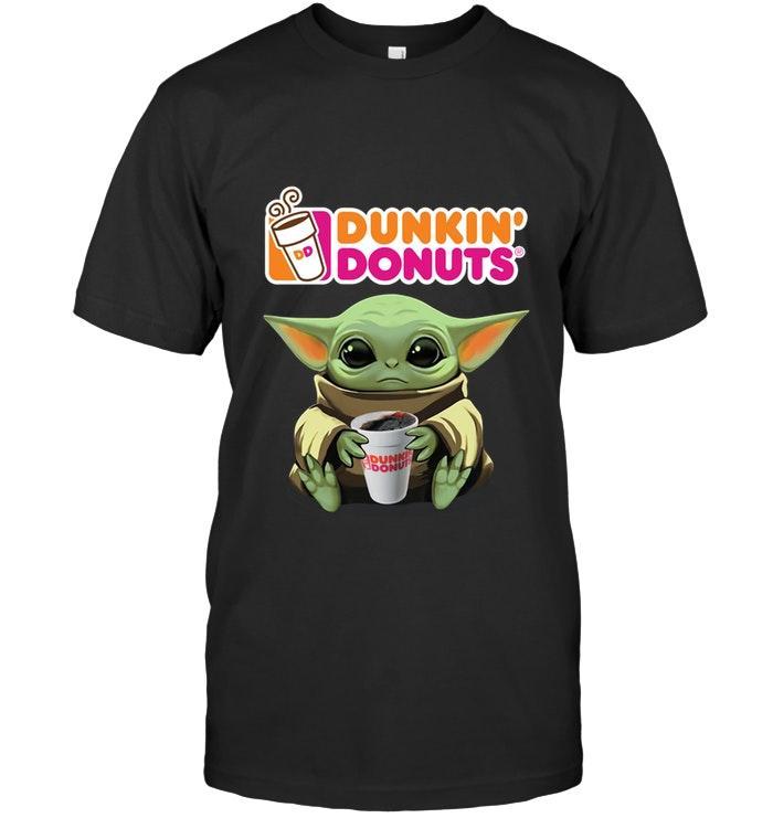 Baby Yoda Mandalorian Loves Dunkin Donuts For Fan T Shirt