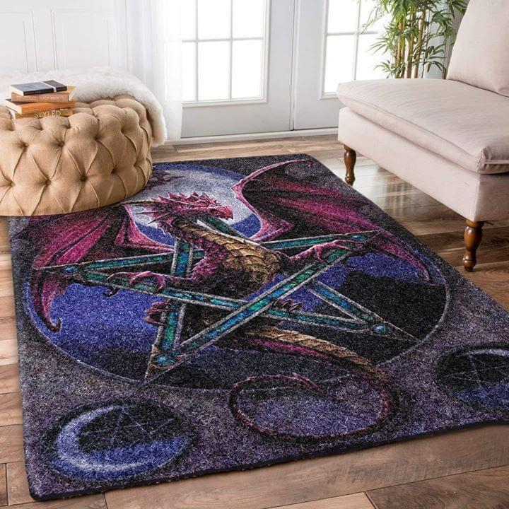 Dragon Pentagram Rectangle Carpet Rug