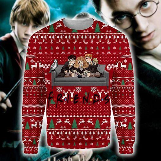 Friends Harry Potter Ron Weasley Hermione Granger Ugly Christmas 3d Printed Sweatshirt 3d
