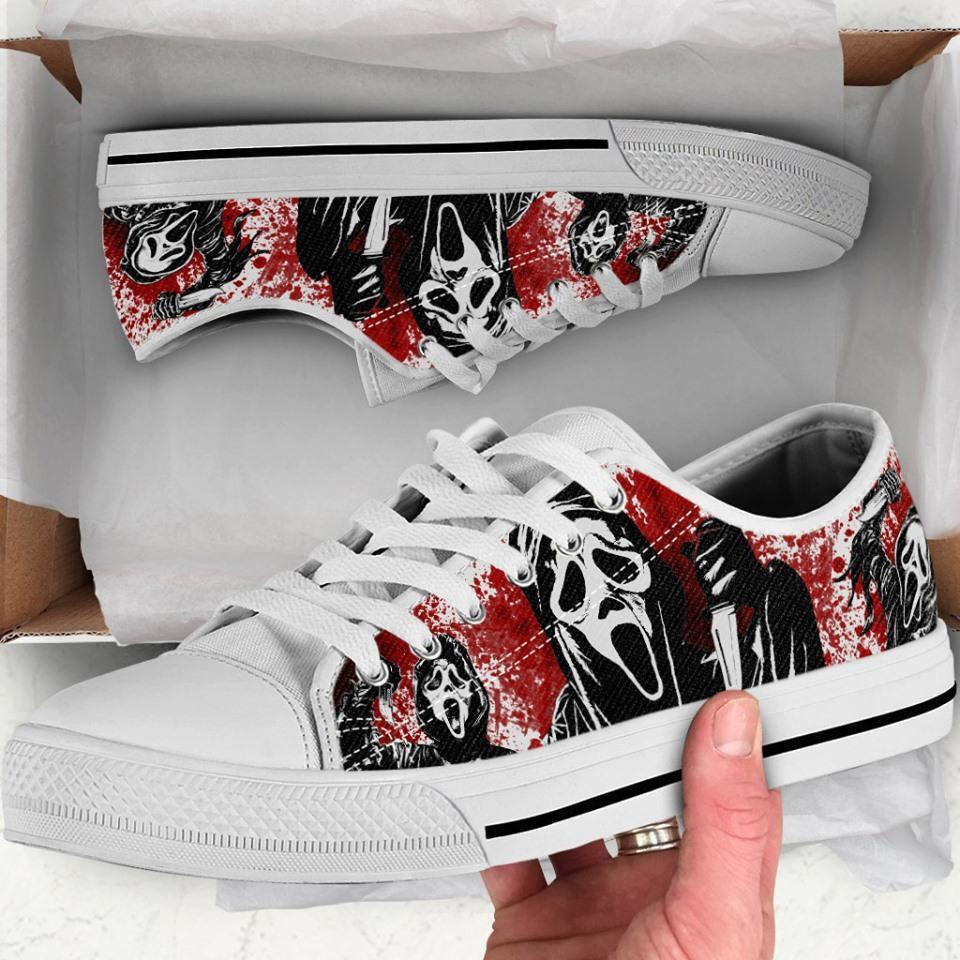 Ghostface Scream Horror Movie Halloween Custom Low Converse Sneaker U3z