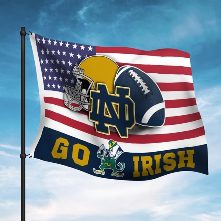 Notre Dame Fighting Irish Go Irish Fan American Flag
