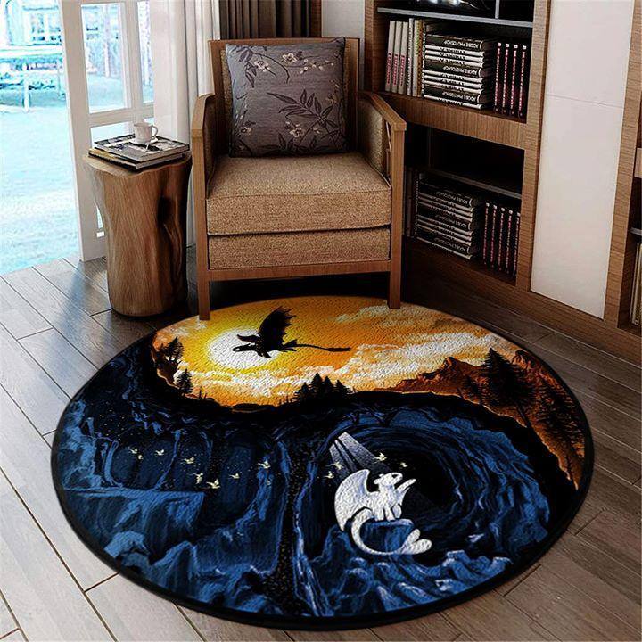 Toothless Light Fury How To Train Your Dragon Yin And Yang Art Style Circle Rug K5c