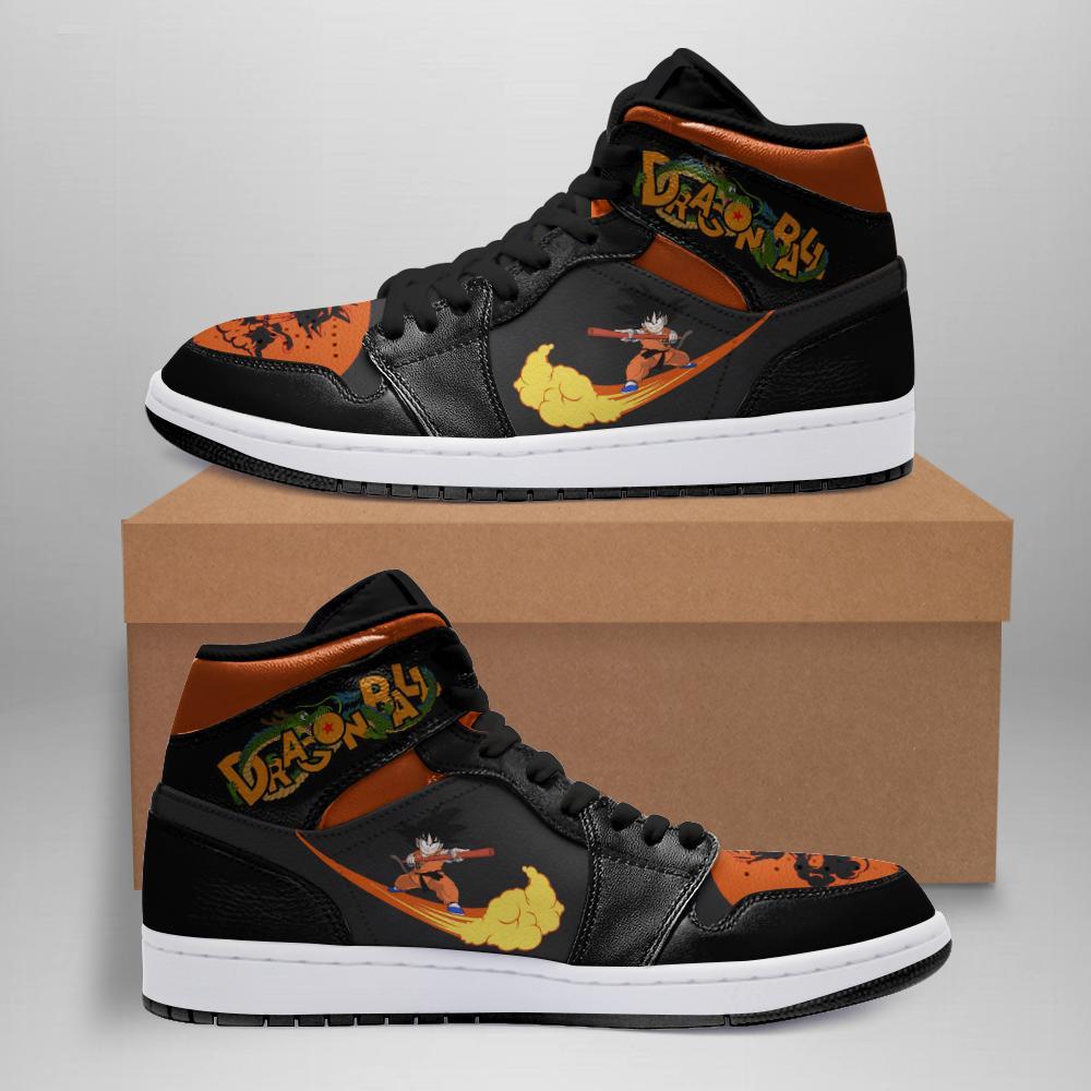 Dragon Ball Jordan Sneakers Dbj003 White Soles Black Shoelaces Leather Shoes O1a5