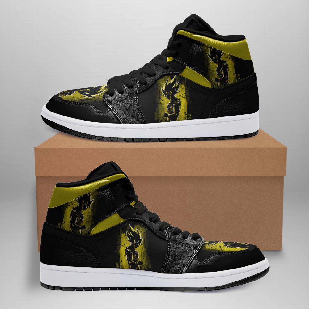 Dragon Ball Jordan Sneakers White Soles Black Shoelaces Leather Shoes Kmi Elnw