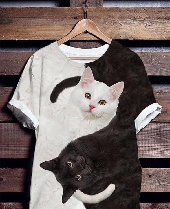 Black And White Cats Yin Yang T Shirt 3d