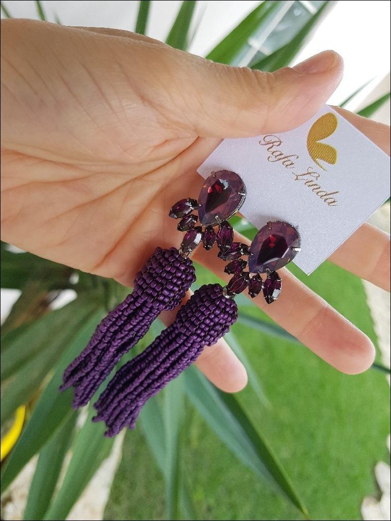 Brinco Tassel Miçanga Ultra Violet