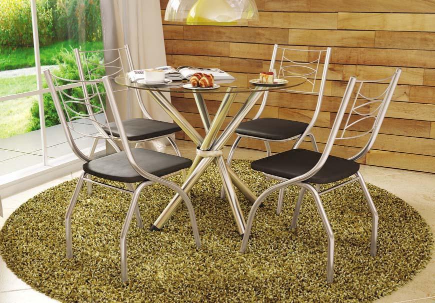 Mesa kappesberg com base retrátil cromada e c/ 4 cadeiras