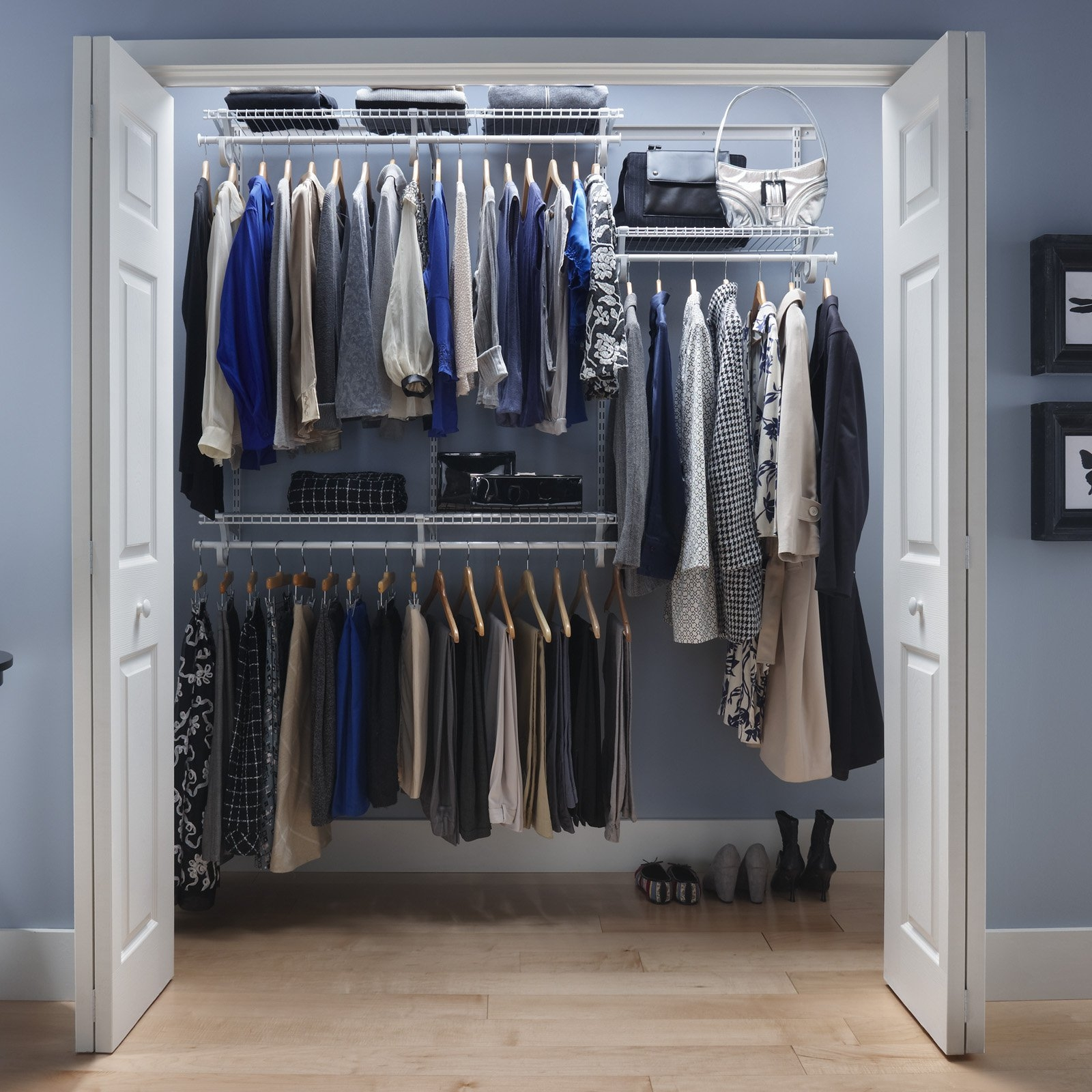 Closets Without Doors - Image of Bathroom and Closet