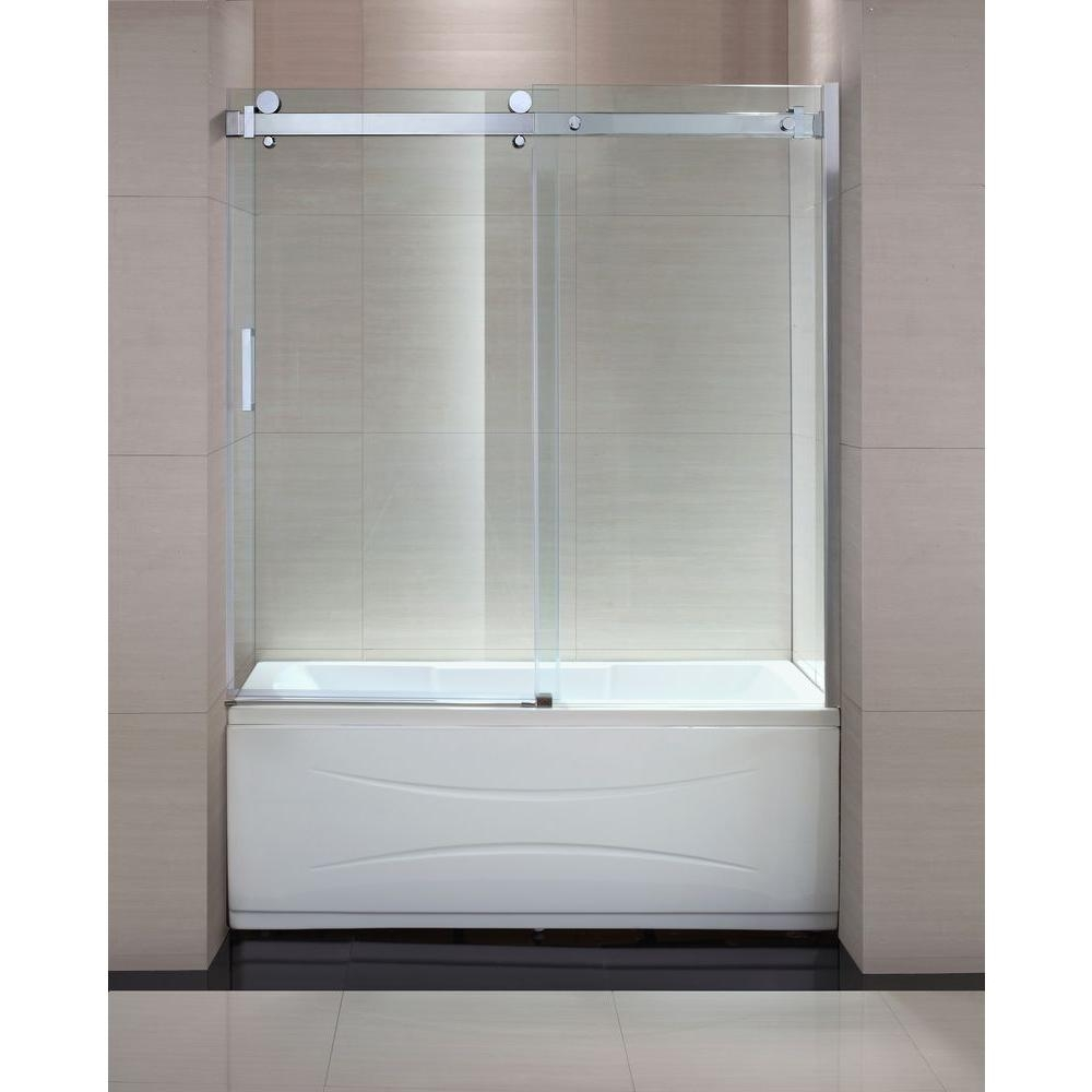 Frameless Trackless Shower Doorschon judy 60 in x 59 in semi framed sliding trackless tub and