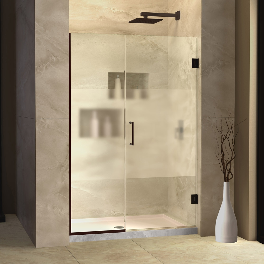 Etched Glass Hinged Shower Doors