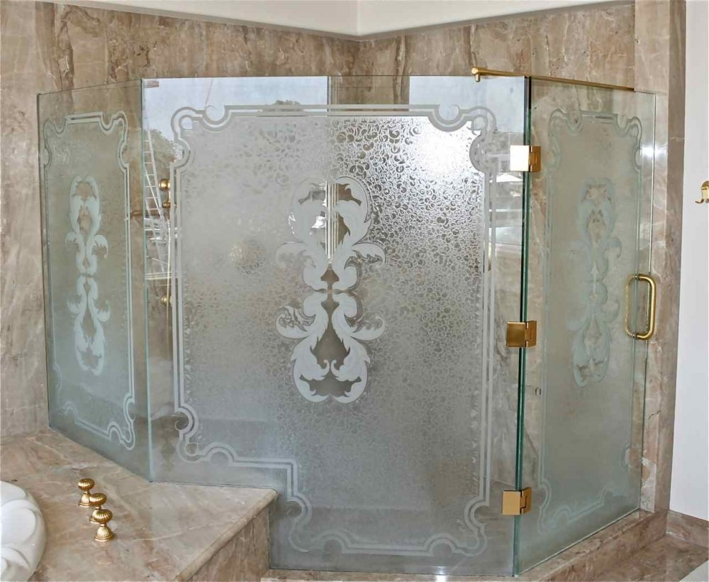 Bamboo Etched Glass Shower Door