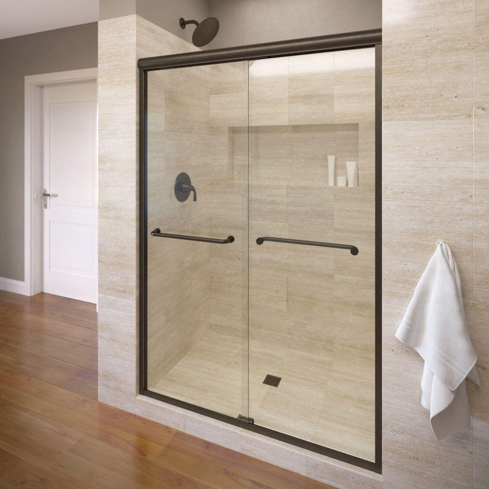 Semi Frameless Shower Door Oil Rubbed Bronzebasco infinity 47 in x 70 in semi frameless sliding door in oil