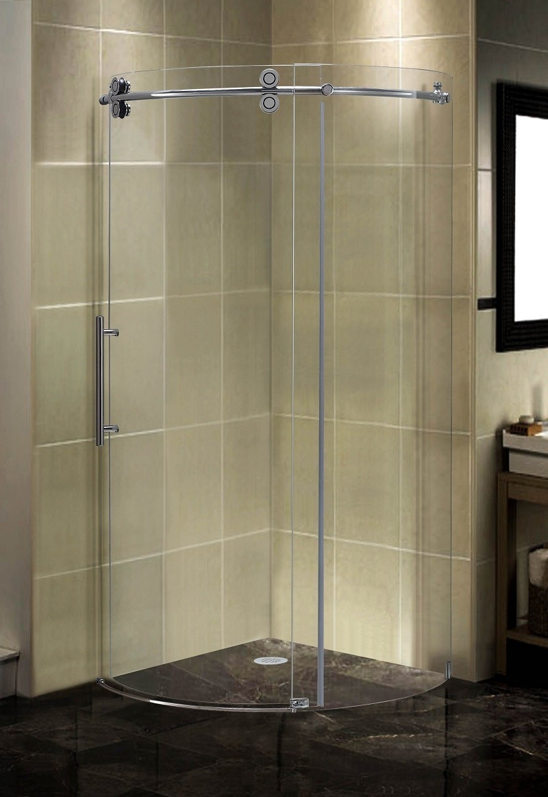 Curved Shower Doors Glassaston completely frameless round sliding shower door enclosure