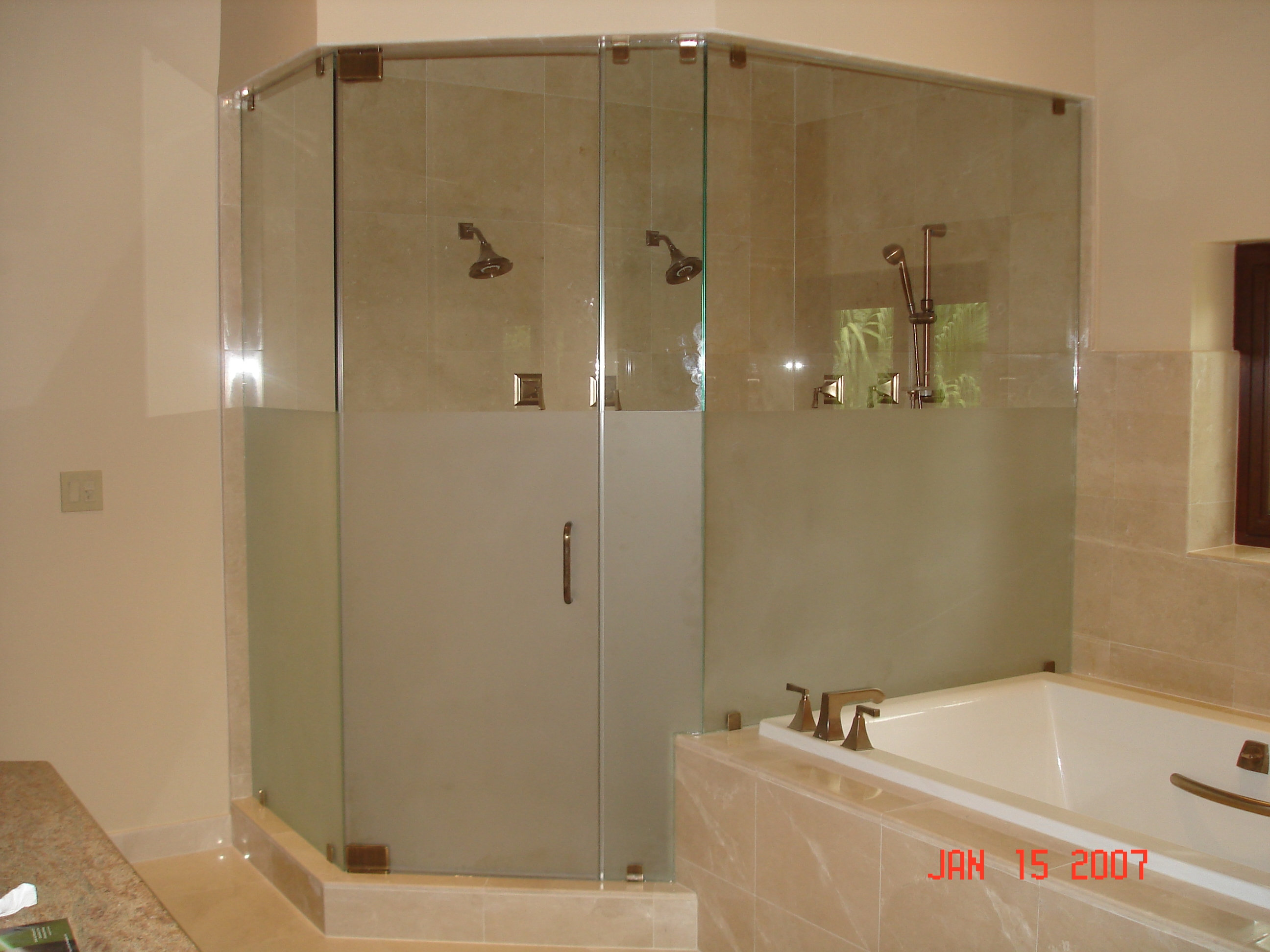 Frameless Etched Glass Shower Doors