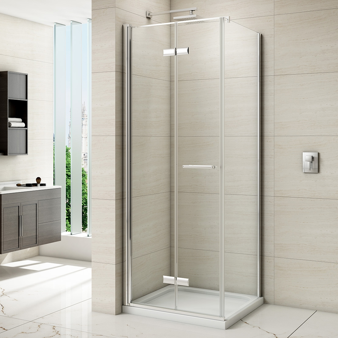 Permalink to Frameless Folding Glass Shower Doors