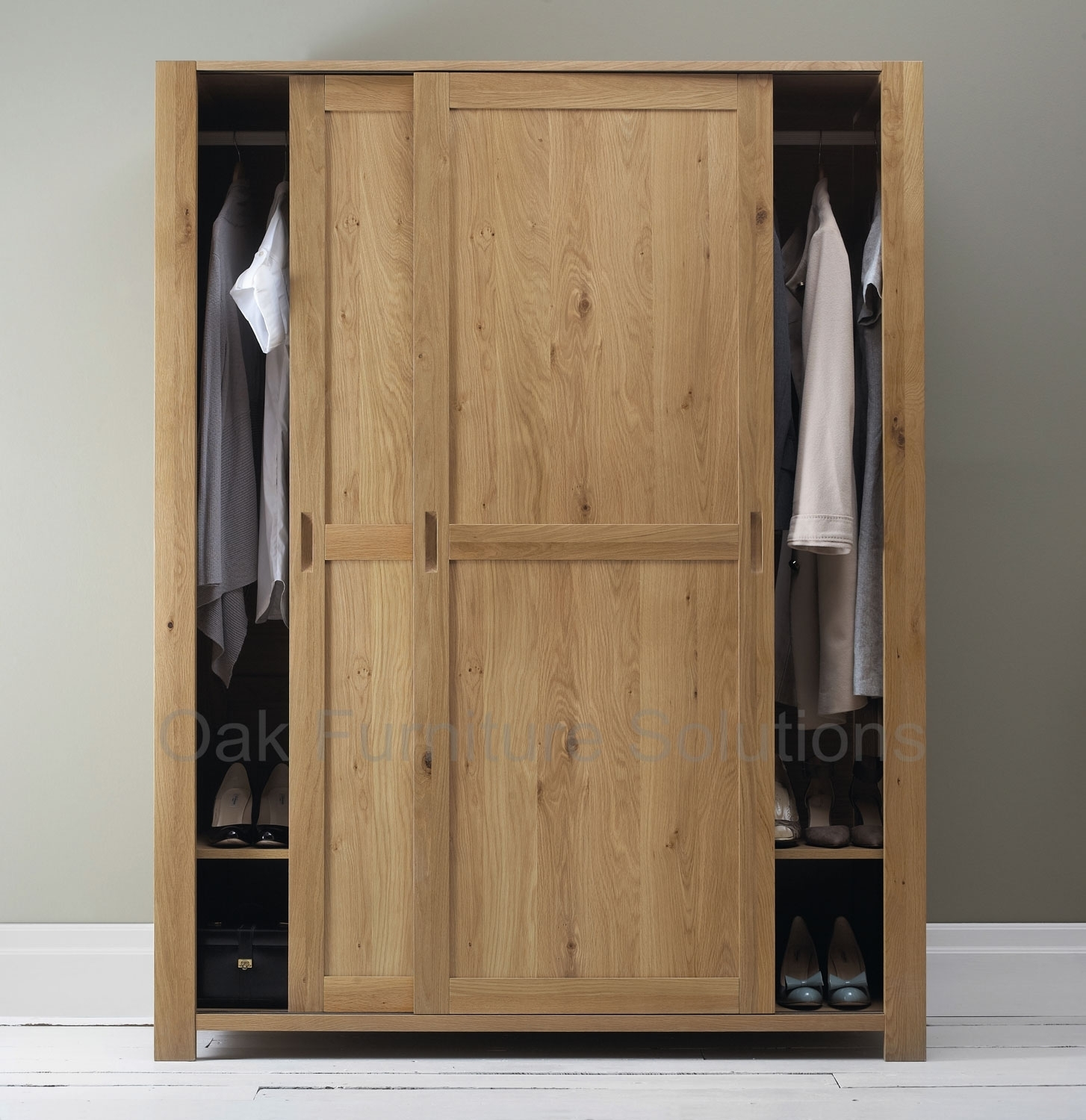 Oak Finish Sliding Closet Doors
