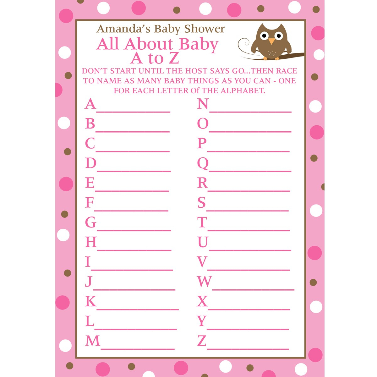 24 Personalized Ba Shower A To Z Game Cards Ba Owl throughout dimensions 1200 X 1200