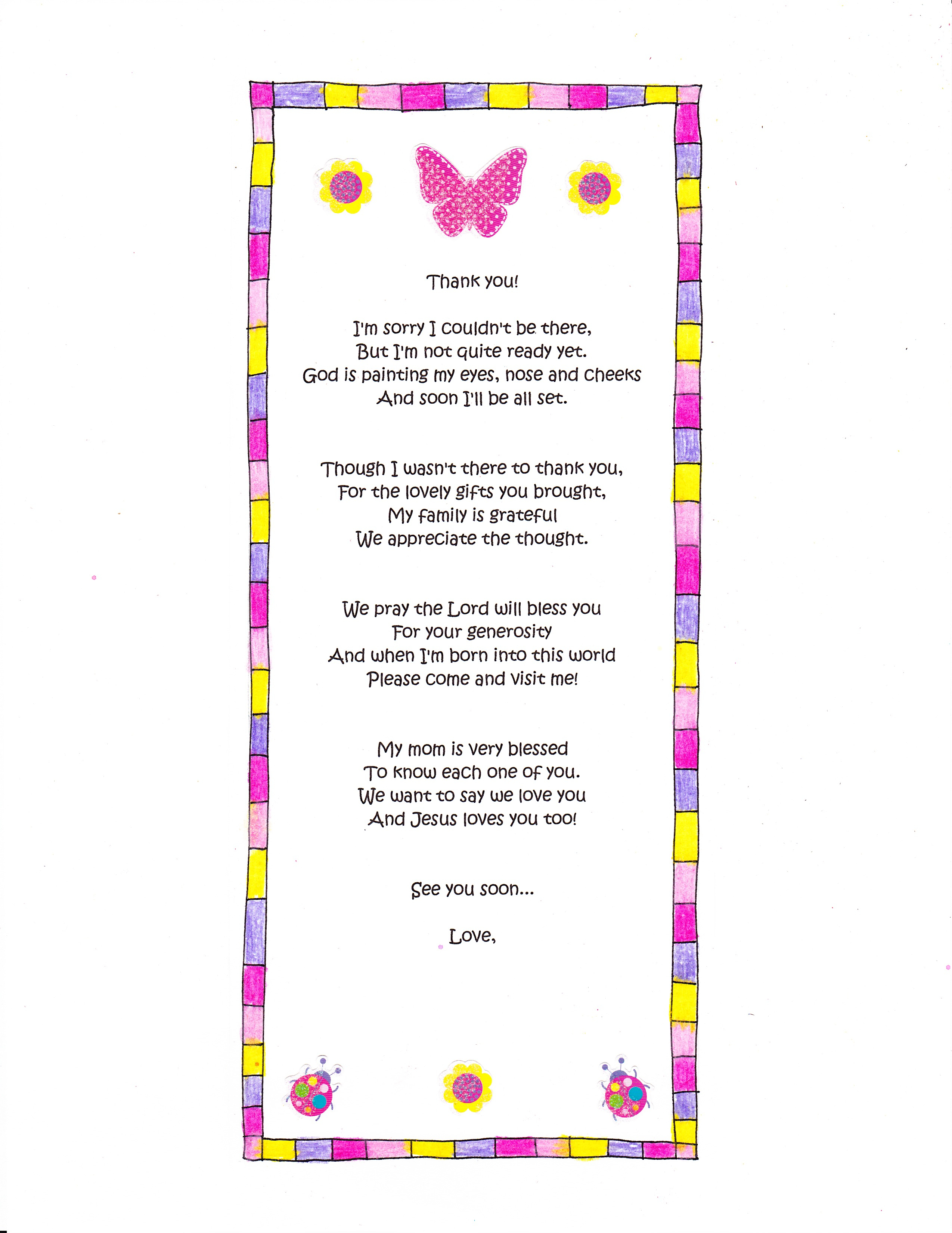 A Cute Ba Shower Thank You Poem Happy Home Fairy throughout sizing 2549 X 3299
