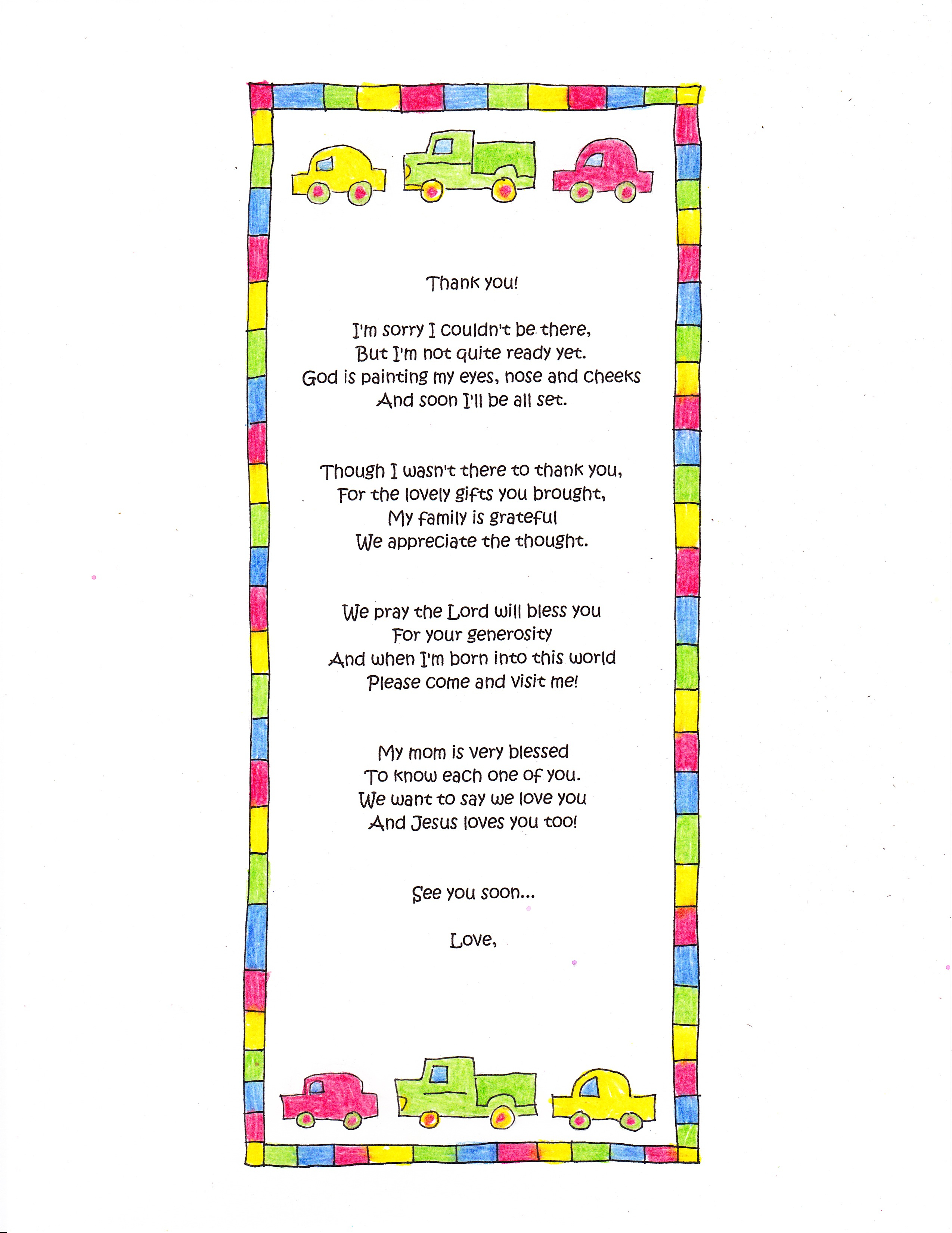 A Cute Ba Shower Thank You Poem Happy Home Fairy within sizing 2549 X 3299