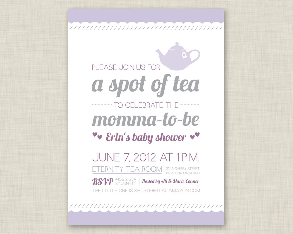 Ba Shower High Tea Invitation Wording Ba Showers pertaining to sizing 1000 X 800