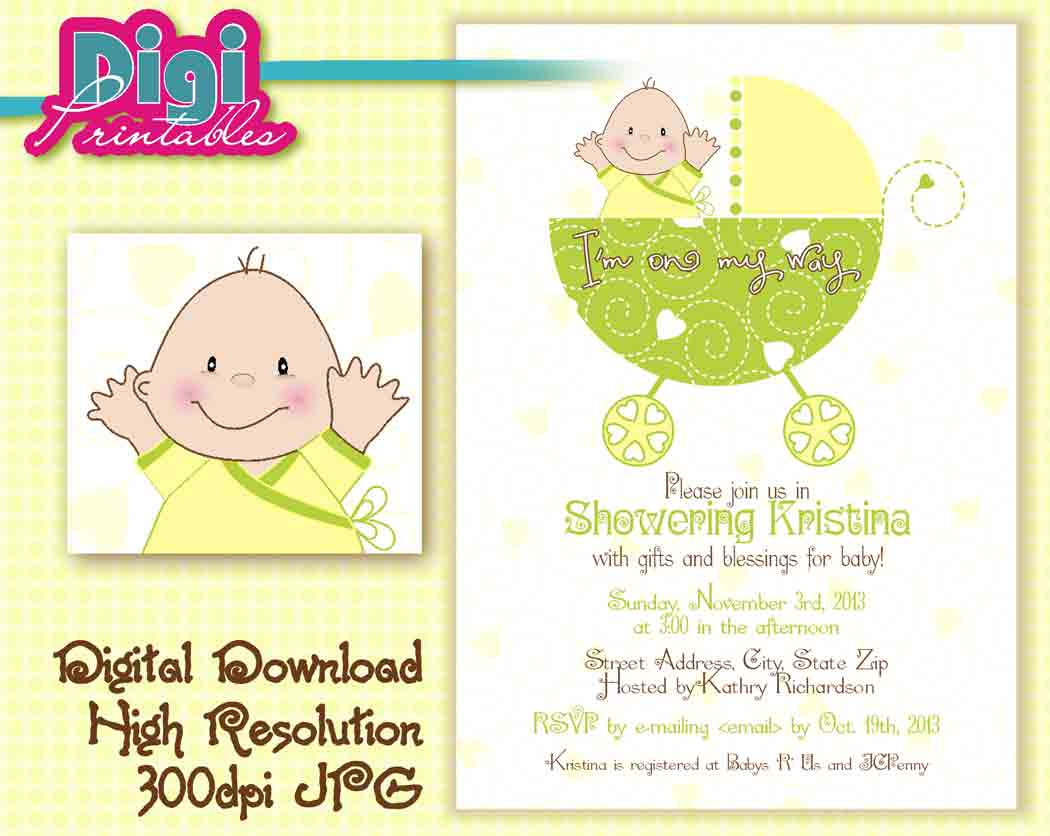 Ba Shower Invitation Gender Unknown Digital Download Diy inside sizing 1050 X 836
