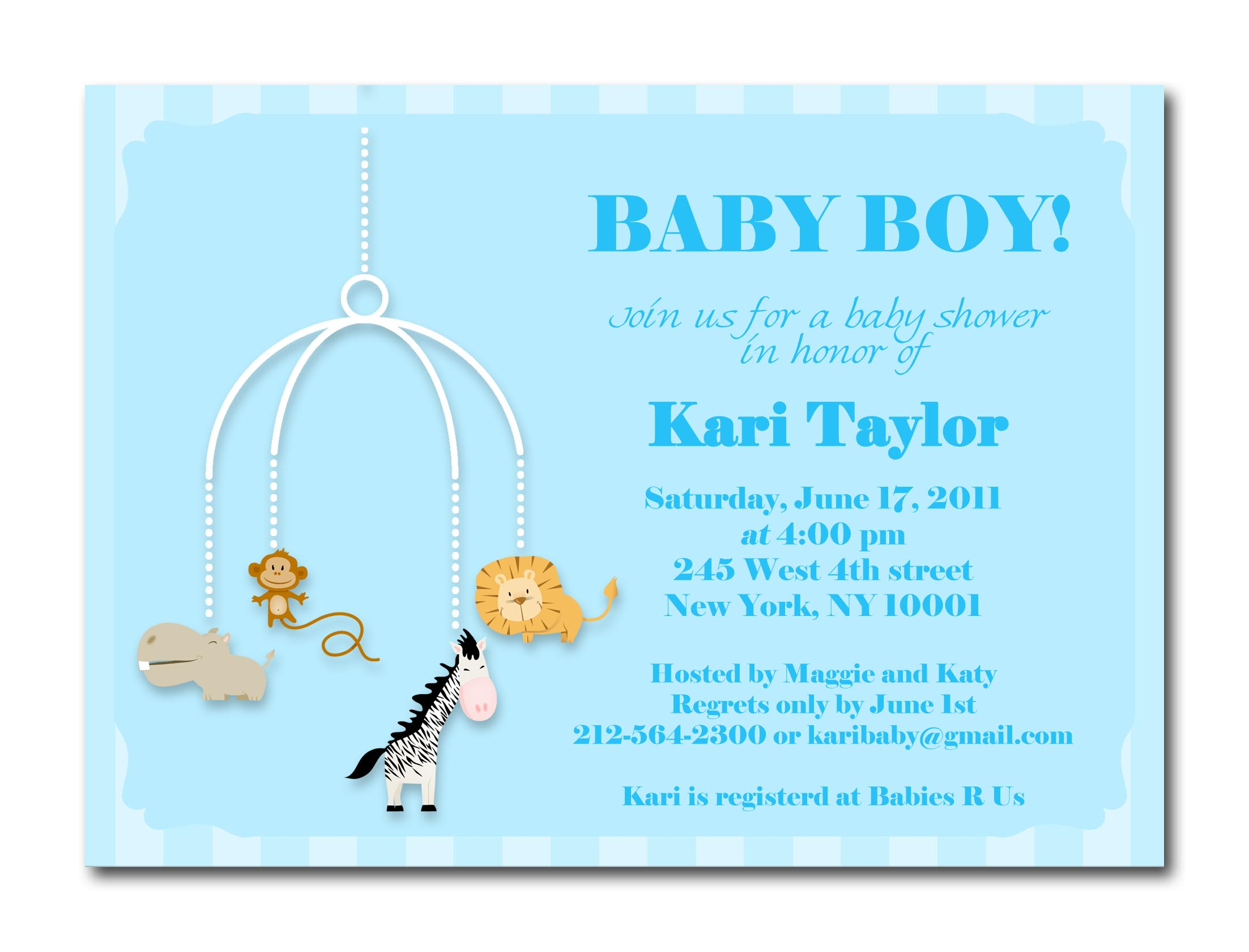 Baby Shower Invitation Cards Samples