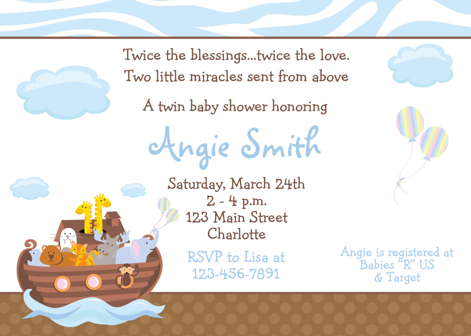 Ba Shower Invitation Wording Twins Boy Girl Tags Ba Shower with size 1500 X 1071