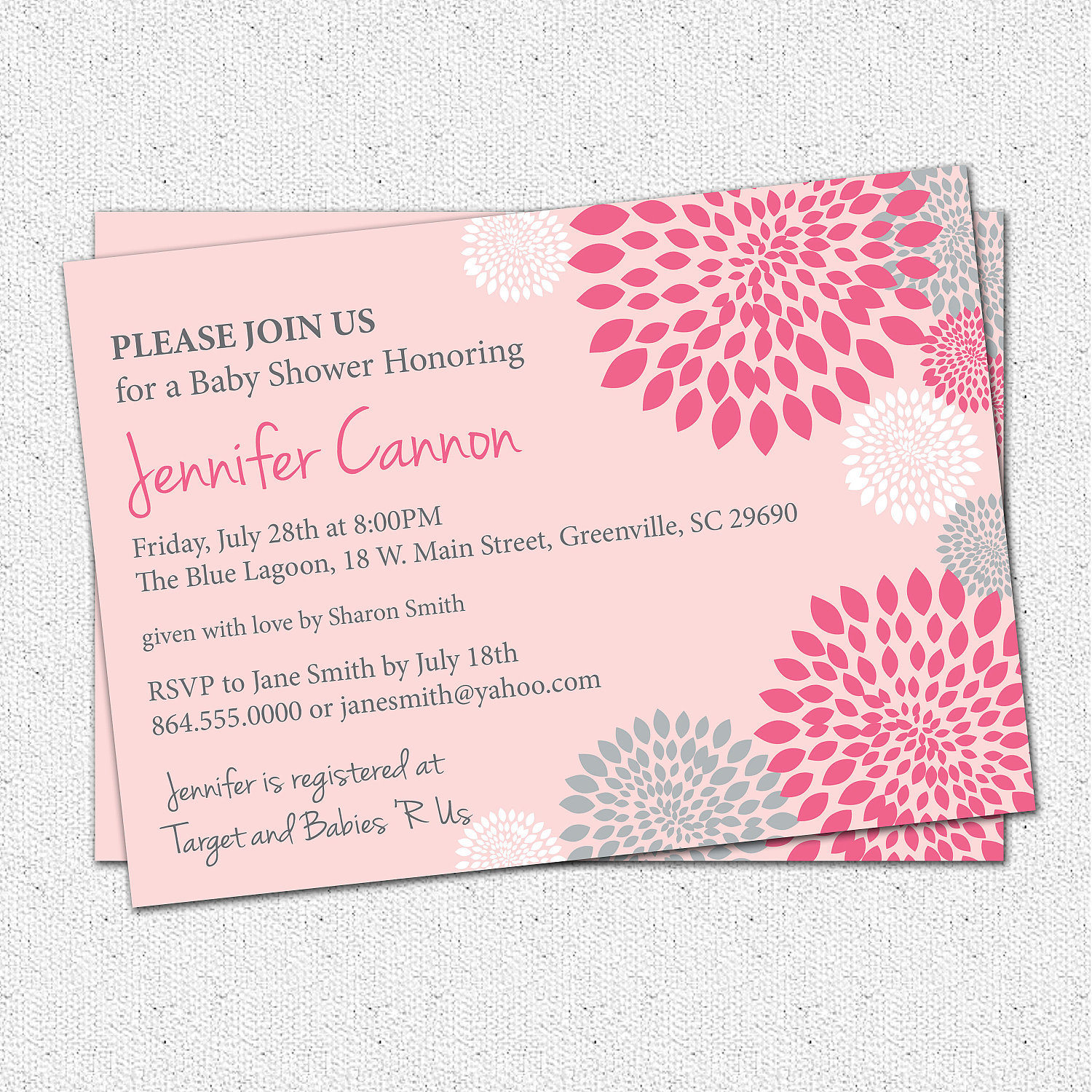 Ba Shower Invitations Girl White Hot And Pale Pink And Grey within dimensions 1500 X 1500