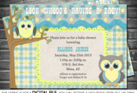 Boys Ba Shower Invitation Owl Theme Blue Yellow Gray in sizing 1500 X 1167