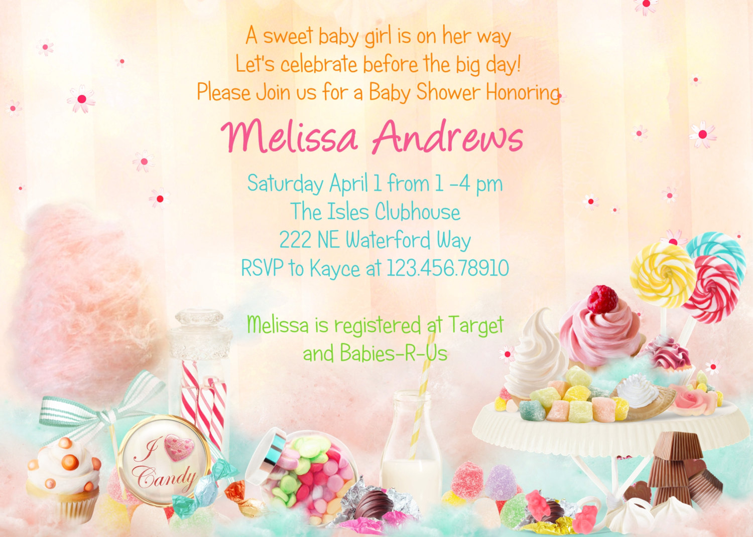 Charming Ideas Candy Themed Ba Shower Outstanding Invitation for sizing 1500 X 1071