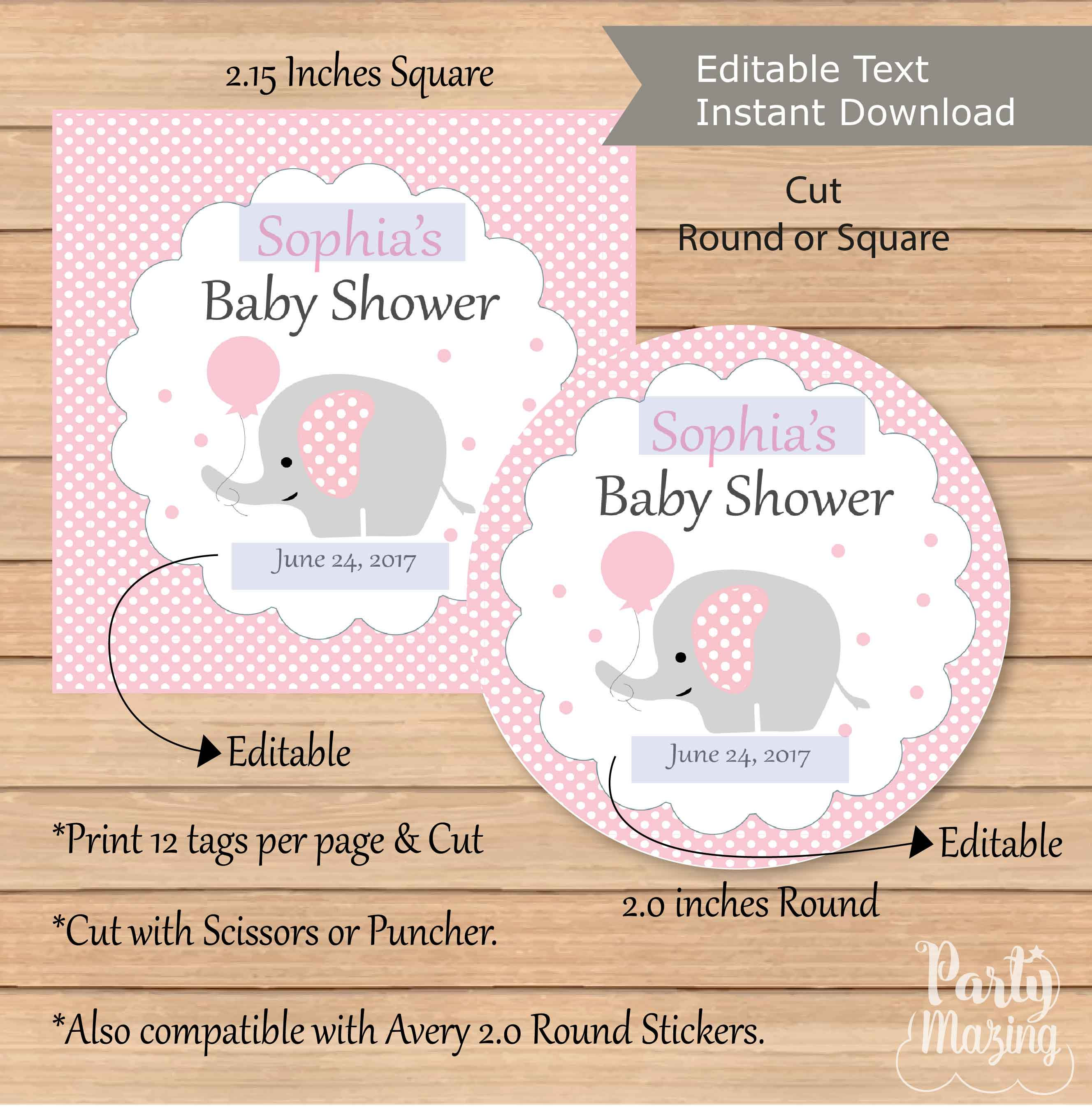 Editable Pink Elephant Tags Girl Printable Ba Shower Stickers intended for measurements 2655 X 2697